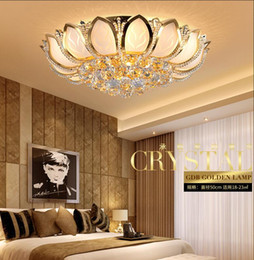 Wholesale Lotus Ceiling Lamp - Lotus Flower Modern Ceiling Light With Glass Lampshade Gold Ceiling Lamp for Living Room Bedroom lamparas de techo abajur taklampe