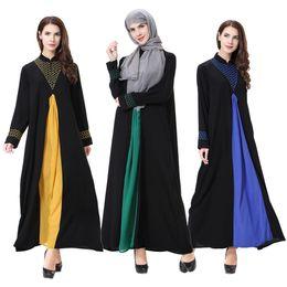 Wholesale Long Sleeved Chiffon Maxi Dress - Women dresses Contrast Colors Muslim Clothing Long Sleeved Chiffon Dress Gown Sunday Clothes Vestidos Wholesale Fashion