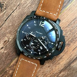 Wholesale Stainless Steel Analog Wrist Watch - Luxury Brand Chronograph Quartz Mens Watch Good Quality 47MM Sport MEN'S Submersible Leather Strap Pam Wrist Watches 00250