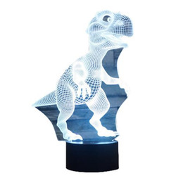 Wholesale Dc Down Light - S5Q Personality Creative Dinosaur 3D LED 7 Color Light Desktop Table Lamp AAAGPO