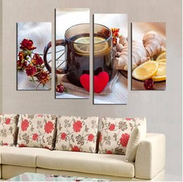 Wholesale Lemon Decorations - 4 Panels Canvas Print Fruits Lemon Tea Painting For Kitchen Living Room Wall Art Picture Home Decoration Unframed