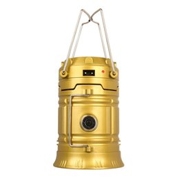 Wholesale Emergency Led Bulbs - camping solar lantern flashlight USB rechargeable charging phone portable emergency led lights