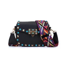 Wholesale Mini Wide - Fashion Mini Lady Crossbody Bag Flap Wide Colorful shoulder strap Bag Adjustable Handle Rivet Candy Small Shoulder Bag Handbag VK5166