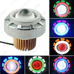 Wholesale Motorcycle Headlight Lenses - FEELDO Motorcycle Car Hi Lo Beam Projector Lens Headlight with Double Angel Eyes Demon Eye LED Fog Light #4330