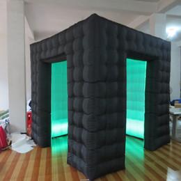 noir extérieur blanc à l'intérieur de cabine photo gonflable 8ft conduit carré photo cabine tente avec 2 portes ? partir de fabricateur
