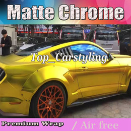 Wholesale Gold Chrome Sticker - Luxury Chrome satin gold Vinyl Car Wrap Film with air bubble free   release Vehicle Covering styling graphics 1.52x20m roll