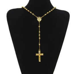 Wholesale Crucifix Pendant Chain - Catholic Jesus Cross Pendant Rosary Necklace Long Bead Chain Cz Diamonds Ice Out Crucifix Charm Pendant Gold Plated Trendy