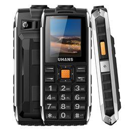 Wholesale Sim Gsm Power Bank - Uhans V5 Waterproof shockproof phone Power bank Dual sim GSM cellphone 2500Mah Big box speaker FM Led Flashlight Mobile phone