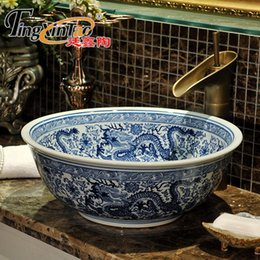 Wholesale Ceramic Art Basin - blue and white China Artistic Europe Style Counter Top porcelain wash basin bathroom sinks ceramic art flower vessel sink