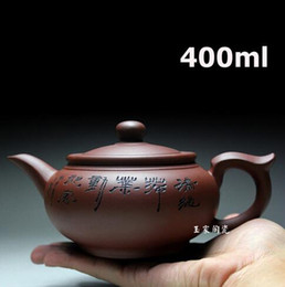 Wholesale Yixing Clay Teapots - 2017 Yixing Zisha Purple Clay Teapot Tea Pot 400ml Handmade Kung Fu Tea Set Teapots Ceramic Chinese Ceramic Clay Kettle Gift Safe Packaging