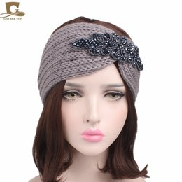 Wholesale Hair Jewels Headbands - New Fashion Women Turban Jewel Headband Knitted Twist Headbands for Women Stretch Hairbands Bandana Hair Accessories