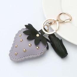 Wholesale Leather Keychain Purse - 3 Color Pu Leather Strawberry Keychain - Gold Color Rivet Key Chain Fruit Purse Bag Pendant For Car Keyrings Gift Handbag Charm
