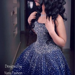 Wholesale Mermaid Strapless Ball Beaded Dress - Sexy Navy Blue Ball Gown Prom Dresses 2017 Mermaid Long Beads Tulle Floor Length Formal Evening Party Gowns