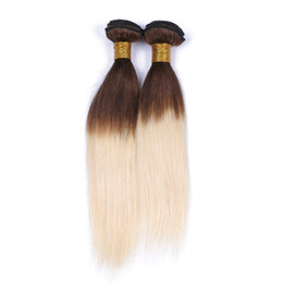 Wholesale Two Tone Hair Color Styles - New Style Brown Blonde Ombre Malaysian Silky Straight Virgin Hair Extensions Two Tone 4 613 Ombre Human Hair Weave 3Bundles Lot