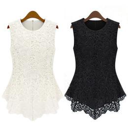 Wholesale Women S Sexy Doll - Wholesale-Sexy Doll Solid Ladies Women Top Lace Chiffon Black&White Sleeveless Slim Shirt