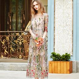 Wholesale Night Dresses Long Sleeves - Retro 2017 Evening Party Dresses Gorgeous Half Sleeves Sheer Mesh Embroidery Boho Bohemian Long Dress Retro Dress Women Dresses