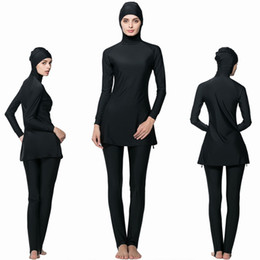 Wholesale Islamic Swimsuit Swimwear - women Muslim Swimsuit Islamic Full Cover Modest Swimwear Beachwear 2017 New Burkini