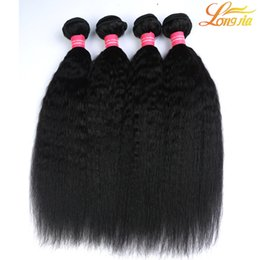 Wholesale Afro Kinky Human Hair Extensions - Grade 8A 100% Unprocessed Mongolian Hair Afro Kinky Straight Weave Extensions 3Pcs Lot Italian Coarse Yaki Human Hair Weft 3 Bundles