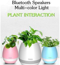 Wholesale Wholesale Music Cds - TOKQI Bluetoth Smart Touch Music Flowerpots Plant Piano Music Playing Wireless Flowerpot colorful light Flower pots KKA1767 (whitout Plants