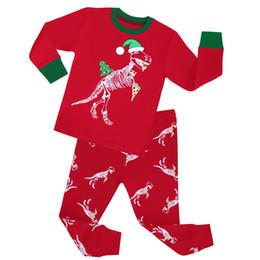 Wholesale Dinosaur Pyjamas - Wholesale- kids christmas dinosaurs pajamas children Christmas stripes sleepwear girls clothing baby santa pyjamas pijamas cotton nightwear