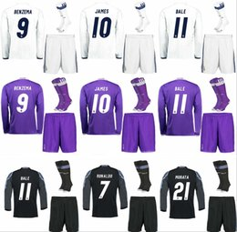 Wholesale Hot Men Sock Soccer - Hot sale 2017 Top Best Qualit adult Long sleeves Soccer jersey kits with socks 16 17 Home Away 3RD Reals Madrid jerseys Shirt Free shipping