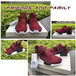 Wholesale Family Fabrics - Pharrell Williams friends and family NMD Human Race Running Shoes Real Boost Burgundy Maroon Top Quality Men Women Runner Sneakers With Box