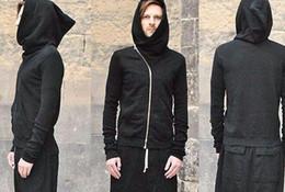 Hoodies oblique on-line-Atacado-outono e inverno owens oblíqua zipper hoodie cor sólida camisola outerwear amantes design
