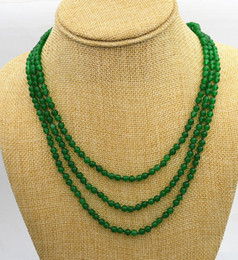 """Wholesale Green Jade Beads 4mm - Free Shipping ***NEW Fashion jewelry 3 rows 4mm green Emerald bead necklace 17-19 """"AAAA++"""