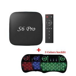 Wholesale Pandora Mouse - S6 PRO IPTV Box 2GB 16GB KD 17.3 Loaded Android 6.0 4K TV Box with I8 Air Mouse Wireless Keyboard