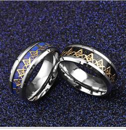 Wholesale Tungsten Diamond Bands - Men's titanium steel jewelry masonic diamond ring han edition fashion personality men's ring