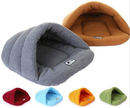 Wholesale Large Pyramid - Soft Fleece Dog Bed Small Pets Rabbits Hamster Sleep Bag Winter Warm House For Puppy and Cats