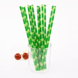 Wholesale green party drinks - Wholesale-25pcs lot Bamboo Paper Straws for Kids Birthday Wedding Decoration Party Straws Striped Creative Paper Drinking Straws Green