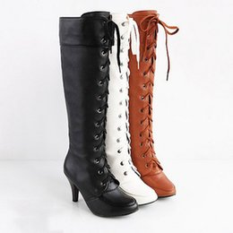 Wholesale Dancing Heels Boots - Wholesale-Cosplay Boot New 2016 Knee High 8cm High Heels Dance Shoes Brown Black White Motorcycle Autumn Women Boots
