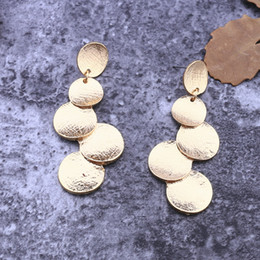 Wholesale Animal Connections - Dangle Chandelier Bohemian alloy brass earring round disc connection Fashion Carol Bijou jewelry gold vermeil plating long drops