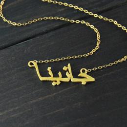 Wholesale custom letter pendant - Custom Personalized Arabic Name Choker Gold Color Customized Nameplate Necklace Women Clothing Accessories