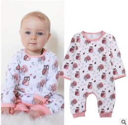 Wholesale Owl Clothing Girl - Baby Onesies 2017 Spring Outfits Long Sleeve Cotton Owl Printed Baby Romper Unisex Infant Toddler Jumpsuit One Piece Animal Ins Clothes
