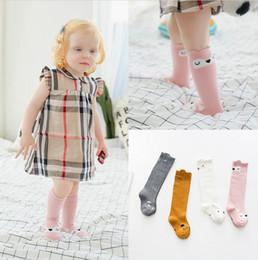 Wholesale Long Infant Socks - INS baby socks fashion new children Stereo fox socks boys girls cute rabbit cat squirrel cotton long Socks Infant kids knee Stockings T3275
