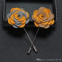 Wholesale Handmade Flannel - high quality fashion handmade Flannel flower Boutonniere StickPin brooch brooch corsage High-end men's suits Accessories