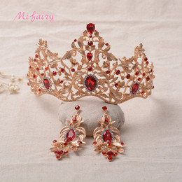 Wholesale Red Bridal Tiara Sets - Vintage Baroque Bridal Tiaras Sets Gold Red Crystals Princess Headwear Stunning White Diamonds Wedding Tiaras And Crowns Sets 15*10 H18