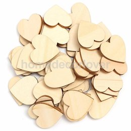 Wholesale Wholesale Wood Cutouts - Wholesale-50Pcs Wooden Hearts Wood Cutout Craft for Rustic Wedding Decoration