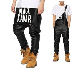 Wholesale Urban Overalls - Wholesale-2016 New Arrival Man Women Mens Hiphop Hip Hop Swag Black Leather Overalls Pants Jogger Urban Clothes Clothing Justin Bieber
