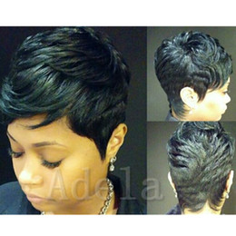 Wholesale Celebrity Real Hair Wigs - Cheap Short Human Natural Brazilian Hair Glueless Wig For Black Women Celebrity Human Real Hair Short Cut Wigs Hot Sale