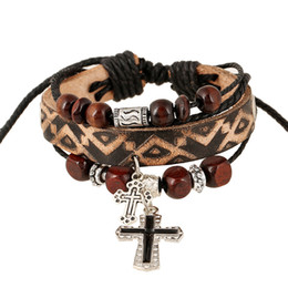 Wholesale Mens Leather Cross Bracelet - Vintage Cross Beaded Mens Bracelet Handmade Elegant Leather Bracelets & Bangles For Women Men Jewelry Fashion Accessory