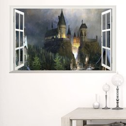 Wholesale Castle Wall Decor - New William Old Castle 3D window Wall Stickers Mural Art PVC Decals Girls Room Decor free shipping