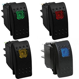 Wholesale Waterproof Rocker Switch 12v - ZOOKOTO 12V 20A Car Marine Bar LED Rocker Toggle Switch Dash 4Pin Waterproof Pack of 4 (mix color)