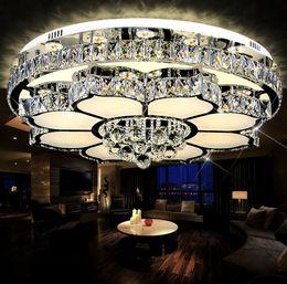 Wholesale lotus ceiling lamp - Modern Simple Lotus Crystal Ceiling Lamp Circular LED Flower Light Living Room Bedroom Dining Room Lamps Lighting LLFA
