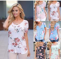Wholesale Women S Floral Print Tops - T-shirts Women Tops 2017 Summer Floral T Shirt Women Short Sleeve V Neck Bandage TShirt Flower Print Loose Tee Plus Size