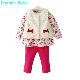 Wholesale Baby Clothing Bear Fleece - Wholesale- Humor Bear Baby Girls Clothing 3Pcs Set For Winter Long Sleeve Shirt+Leopard Pants+Fleece Vest Children Brand Clothing Suit