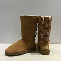 Wholesale Style Snow Boots - 2017 winter New Australia Classic bailey Style Women Snow Boots Winter High quality 3 Bowtie tall snow Boots women winter shoes size 35-41