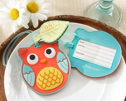 Wholesale Owl Birthday - 100pcs Owl Suitcase Luggage Name ID Tag Baby Bridal Shower Wedding Girl Birthday Party cFree Shipping